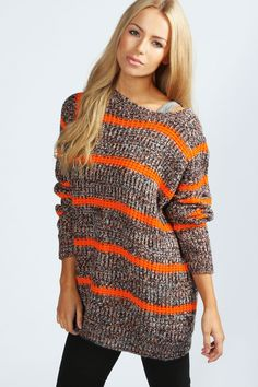 Lotte Stripe Popcorn Knit Jumper -- would love it in something other than orange