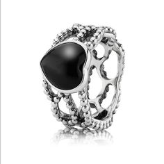 Pandora Ring MI AMOR, Black Onyx One of Pandoras, now discontinued, Black Onyx collection rings. Barely worn, still beautiful. Jewelry Rings