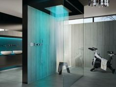 Welcome to the wonderful waterfall of shower heads to drench you in a soothing downpour. Will you take a shower here? | Source: Touche of Modern