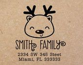 Personalized Address Rudolph Christmas Holiday Rubber Stamp ( Wood Engraved or Self Inked) 0061
