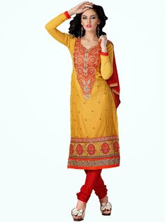 Party Wear Yellow and Red Heavily Embroidered Chanderi Cotton Suit. Comes along with Santoon Bottom and Viscose Dupatta.