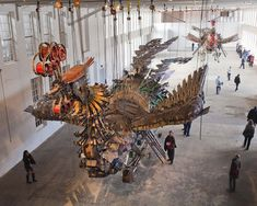 [Unity+Scale] Xu Bing Arrives at Mass MoCA With His 12 Ton Birds Made of Construction Equipment sculpture light construction birds assemblage