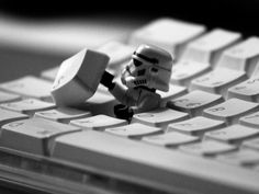 LEGO Star Wars: Stormtrooper getting out of a keyboard.