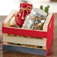 Forget traditional gift packaging and give this Felt Embellished Wood Crate Package a try. Homemade Gifts, Diy Gifts, Food Gifts, Homemade Christmas, Christmas Crafts, Diy Projects And Organization, Mason Jar Crafts, Mason Jars, Christmas Projects