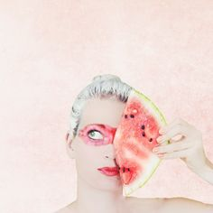 A selfie of me with a watermelon #watermelon #watermelon selfie #watermelonselfie #fruitportrait #watermelonportrait #portrait with fruit #pinkportrait #selfieportrait