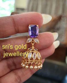 Gold Jhumka Earrings, Jewelry Design Earrings, Gold Earrings Designs, Pendant Jewelry, Ruby Jewelry, Jewelery, Gold Bangles Design, Gold Jewellery Design, Gold Earrings For Women