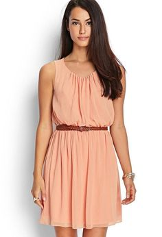 Love 21 - A sleeveless chiffon dress featuring a faux leather braided belt. . Fully lined. Woven. 10...