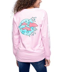 Pink Dolphin Enter The Wave Pink Long Sleeve T-Shirt