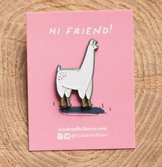 Llama Enamel Lapel Pin by Lindsey Balbierz on Etsy // What? You love llamas? Your ultimate Llama enamel pin is here. This llama pin has custom color plating and rubber backing clutch. Great to add to your favorite denim jacket or tote bag Jacket Pins, Cool Pins, Pin And Patches, Stickers, Pin Badges, Lapel Pins, Cute Gifts, Pin Collection, Creations