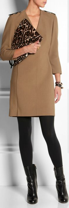 Burberry London's Dress, Gucci boots & Lanvin clutch.