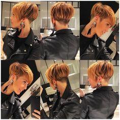 Moda cortes de cabelo e penteados 2018 - Frisuren - Popular Short Hairstyles, Short Hairstyles For Women, Cool Hairstyles, Short Pixie, Short Hair Cuts, Sassy Hair, Pixie Haircut, Hair Today, Hair Dos