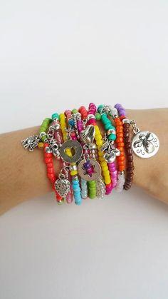 Beaded bracelet - stackable bracelet - Friendship Bracelets - stretch bracelets - Boho Chic Colourful Summer Bracelets - seedbeed - bff gift colourful bracelets layering bracelets multicolour bracelet boho chic bracelets stretch bracelets bohemian bracelets dainty bracelets friendship bracelet Ladies fashion gift for her silver charm bracele beaded bracelet bff gift 18.00 EUR #goriani