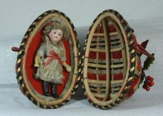 Antique Victorian German Bisque Doll in Christmas Egg c1900