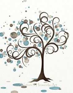 Blue Brown Circle Whimsical Tree Wall Art 11 x Wind Blowing Tree Art Print, Living Room Decor for Walls