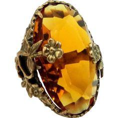 Art Deco Topaz Glass and Gilt Brass Lady's Ring found at www.rubylane.com @rubylanecom