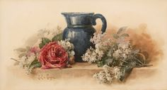 Bolssoms & Roses - Watercolor By Paul de Longpre (1855-1911)