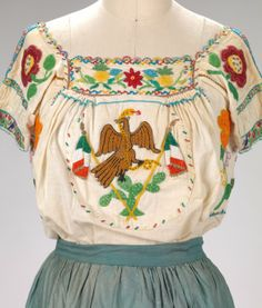 Embroidered top detail from China Poblana dress, c. 1925, Mexico City~Image © Rhode Island School of Design