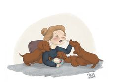 Nibble with company..   Illustration by S.K.Y. van der Wel    Again some sillynes with dachshunds ^^