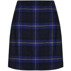 Hobbs Elea Tartan Mini Skirt ($110) ❤ liked on Polyvore featuring skirts, mini skirts, blue plaid mini skirt, short maxi skirt, patterned mini skirt, maxi skirts and print maxi skirt