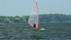 Lake Winnebago draws Wisconsin windsurfers and kite surfers.