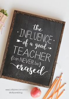 """Holy moly this school year has flown right by! We have been blessed with wonderful educators for our kiddos and love to spoil them a little bit with more than the traditional hand lotion. Our favorite gift is something sentimental with something practical, (typically a gift card of some sort!) Our handwritten quote """"The influence …"""