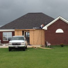 Addition with outside walls and roof-just in time for the storm!