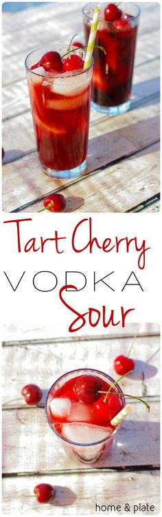 Tart Cherry Vodka Sour For this refreshing cocktail use grapefruit flavored vodka and mix it with the tart flavor of sour cherries. Beste Cocktails, Cocktails Bar, Refreshing Cocktails, Summer Drinks, Cocktail Drinks, Bourbon Drinks, Martinis, Craft Cocktails, Gastronomia