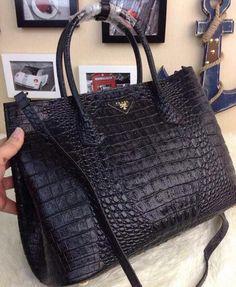 Prada Croco Leather Tote Bag BN2756 Black 4c3e628b443bc