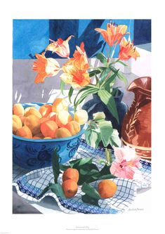 Apricots and Lillies a stunning watercolour from Rosalind Forster Watercolor Tiger, Watercolor Paintings, Watercolor Lesson, Watercolors, Drawing Practice, Printmaking, Still Life, Fine Art Prints, Drawings