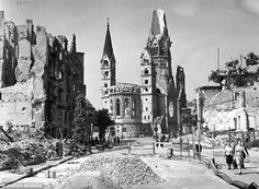 This photograph taken two months after the end of war in Europe shows the ruins of the Kaiser Wilhelm Memorial Church