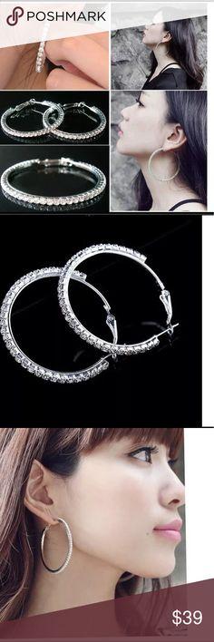 Coming Soon ! Fashion Silver/Stone Hoop Earrings New, gorgeous earrings, Jewelry Earrings