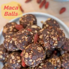 The key ingredients in this recipe that these snack balls great are maca, raw cacao and goji berries.  #GojiBerries #gojiberry #superfood #HealthyLife #organicfood #yogurt #health #nutrition
