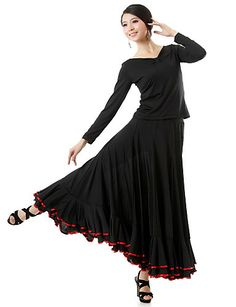 Ballroom Dancewear Viscose Modern Dance Outfit Top and Skirt For Ladies