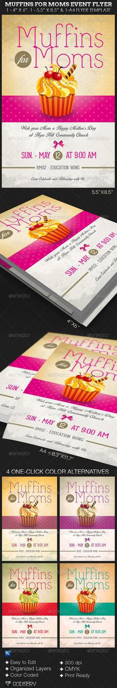 "Muffins for Moms Event Flyer Template - $6.00 The Muffins for Moms Event Flyer Template has a retro design that fits with a festive event for Moms. Great for schools, churches and other events. The templates are conveniently easy to use. All you need to do is, ""Edit, Save, Print'"