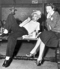 "garbodietrich: "" Marlene Dietrich & Nellie Manley on set of The Spoilers, 1942. """