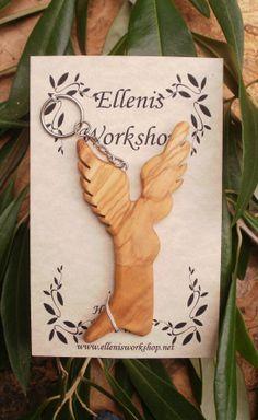Hand carved Greek Olive wood Angel Key chain by ellenisworkshop, $18.00