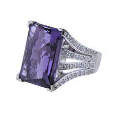 Platinum Diamond 15.45ct Amethyst Cocktail Ring | Oakgem | Vintage and Designer Jewelry