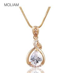 MOLIAM Fashion Women Necklace Silver/Gold Plated Slide Pendants Jewelry with Chain