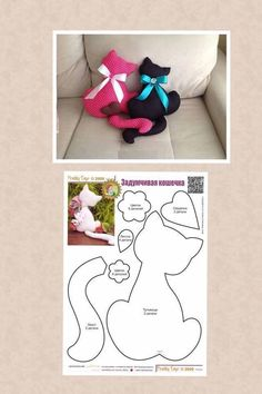 Cats with Tails/pillows & for fun have them w/tails entwinded! Sewing Toys, Sewing Crafts, Sewing Projects, Craft Projects, Fabric Toys, Fabric Crafts, Felt Patterns, Sewing Patterns, Cat Crafts