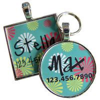 Retro Blue Confetti Dog Tag