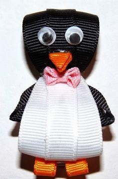 penguin ribbon hair clip or pin Ribbon Hair Clips, Ribbon Art, Ribbon Hair Bows, Diy Hair Bows, Ribbon Crafts, Ribbon Flower, Diy Bow, Barrettes, Hairbows