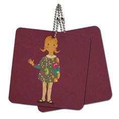 Little Girl Cartoon Wood MDF 4' x 4' Mini Signs Gift Tags -- Want to know more, click on the image.