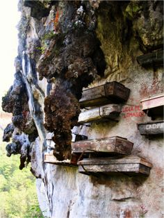 Hanging coffins is an ancient funeral custom found only in Asia: