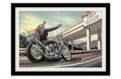"""David Mann Motorcycle Art   DAVID MANN Motorcycle Art Print """"Welcome Home"""" Vintage Harley Davidson ..."""