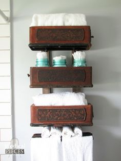 Budget-Friendly DIY Farmhouse Style Bathroom Makeover by Prodigal Pieces Antique Sewing Machine Drawers Repurposed Sewing Machine Drawers, Sewing Machine Tables, Treadle Sewing Machines, Antique Sewing Machines, Sewing Table, Sewing Cabinet, Sewing Box, Repurposed Items, Repurposed Furniture