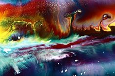 Colorful Abstract Art Vivid Colors Rainbow Landscape By Kredart Painting by Serg Wiaderny