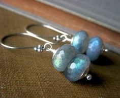 Labradorite Stacked Earrings on Sterling Silver . by beadstylin