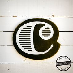 Wood C Letter Wall Decor Screen Printed Painted Black by EdiesLab, $25.00    love these letters! would look so cute on my wall.
