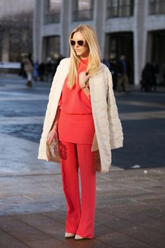 coral and skirt over pants  from Refinery 29