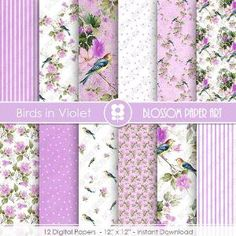 Violet Digital Paper, Violet Digital Paper Pack, Birds Scrapbooking, Floral Digital Paper  - INSTANT DOWNLOAD  - 1940 by blossompaperart